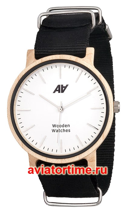 часы AA Wooden Watches Maple Nato Black