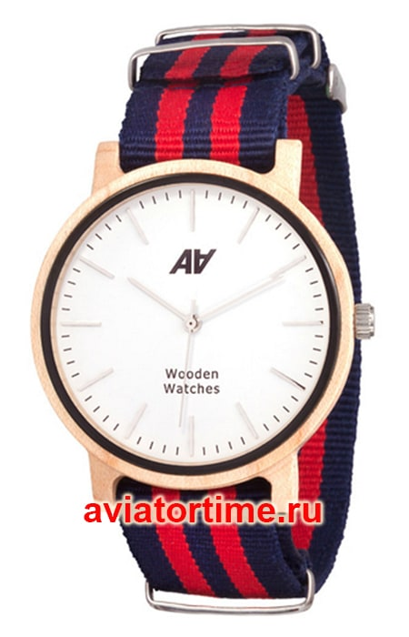 часы AA Wooden Watches Maple Nato Red-Blue