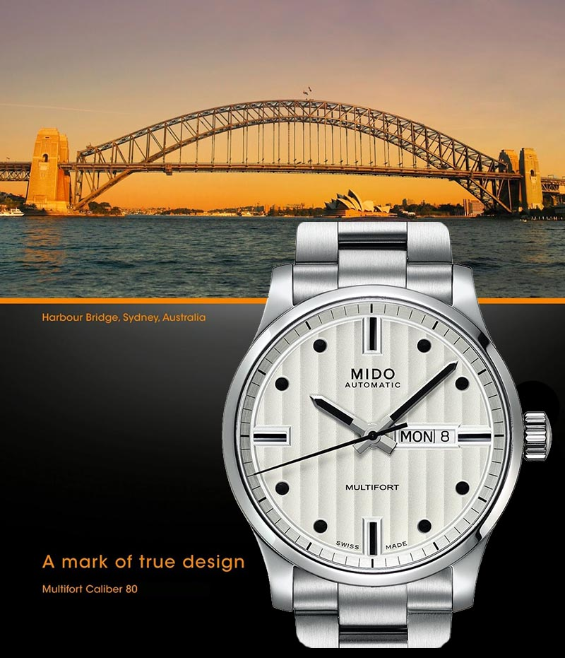 часы MIDO M005.430.11.031.80 Multifort и Мост Harbor Bridge, Sidney, Australia