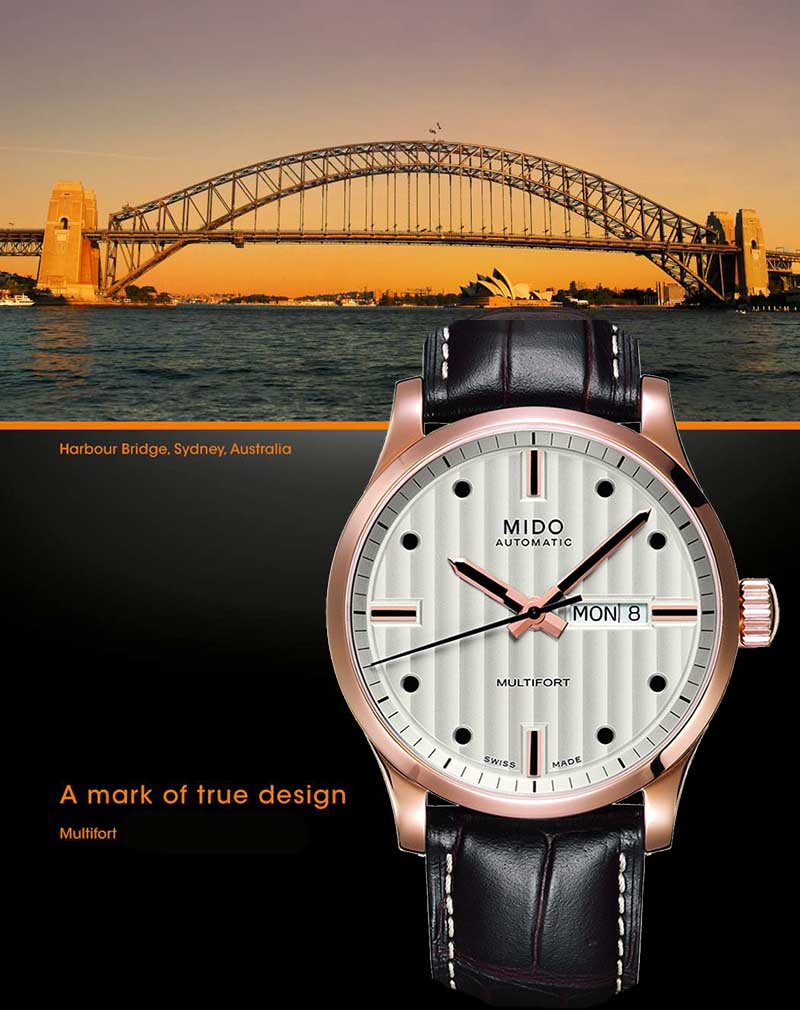 часы MIDO M005.430.36.031.80 Multifort и Мост Harbor Bridge, Sidney, Australia