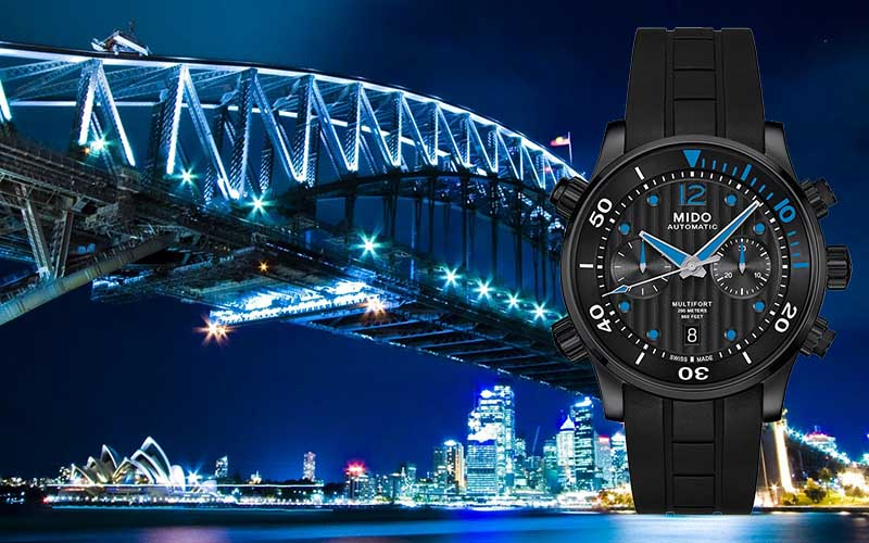 часы MIDO M005.914.37.050.00 Multifort и Мост Harbor Bridge, Sidney, Australia