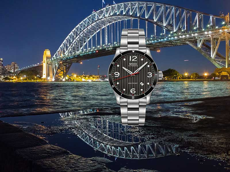 часы MIDO M025.407.11.061.00 Multifort и Мост Harbor Bridge, Sidney, Australia
