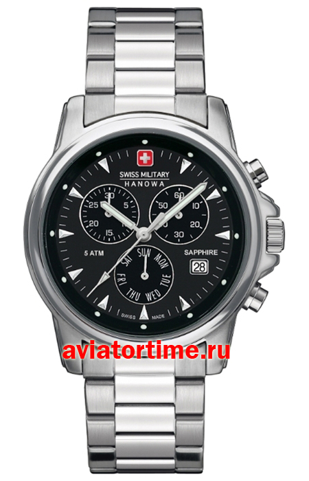 Мужские швейцарские часы Swiss Military Hanova 6-5232.04.007 Swiss Recruit Chrono Prime