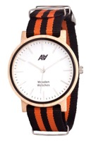 Швейцарские часы АА WOODEN WATCHES Maple Nato Orange-Black